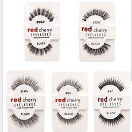 Wholesale Red Pairs - 12 pairs pack False Eyelashes Soft Red Cherry Eyelashes Human Hair Eye Lashes Makeup Beauty Tools Eyelash Extension