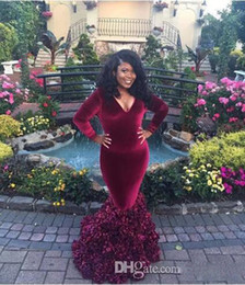 Wholesale Strapless Mother Bride Dress - 2k17 African Burgundy Long Sleeves Prom Gowns Deep V Neck Ruffles Plus Size Prom Dress Floor Length Mother Of The Bride Dress