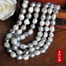 "Wholesale Huge Gray Baroque Pearls - 50"" HOT Huge 9-10mm SOUTH SEA white gray baroque pearl necklace 14K Gold clasp"