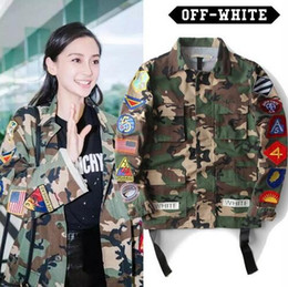 Wholesale Mens Long Military Coats - High Quality Mens male Womens Justin Bieber Camouflage Off-White Jacket Kanye West Fashion Military Camo Off Jackets And Coats