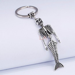 Wholesale skull keychains - 10PCS lot Punk Skull Zombie Fishtail Mermaid Keychain Keyring Metal Key Chain Ring Movie