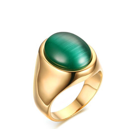 Wholesale Green Emerald Stones - Meaeguet Men's Woman's Jewelry Big Green Simulated Emerald Stone Ring Gold Color Wedding Engagement Ring Size 8-11 RC-262