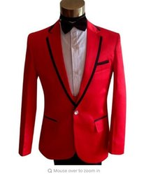 Wholesale Straight Wedding Dress Short Sleeves - Red formal dress latest coat pant designs suit men fashion homme terno masculino trouser marriage wedding suits for men's dance