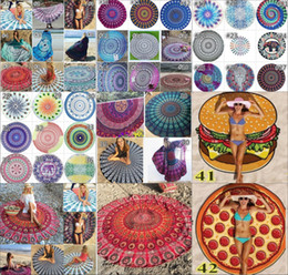Wholesale Wholesale Bath Wrap Towel - Round Beach towel 43 Styles beach Towels size Tapestry Hippy Boho Tablecloth Bohemian blue Beach Towel Serviette Covers Shawl Wrap Yoga