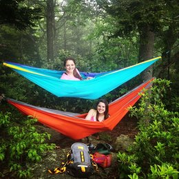 Wholesale Parachute Tents - Wholesale- 2016 Double Hammock Camping Survival Hammock 300*200cm Parachute Cloth Portable Double Person outdoor Leisure Yoga Tent Hammock