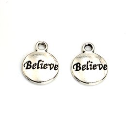 Wholesale Craft Silver Jewelry - Wholesale-20pcs Tibetan Silver Plated Words Believe Charms Pendants for Jewelry Making DIY Handmade Craft 15x12mm A119
