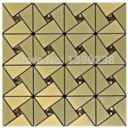 Wholesale Metal Backsplash Tile - Self-adhesive Metal Mosaic Tiles high quality Puzzle Mirror TV Backsplash Wall Decor Europe Style Gold Glass Mosaic Tiles,LSLCB03
