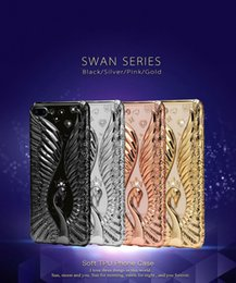 Wholesale iphone swan - The swan series Luxury Bling Diamond Case For iPhone 7 iPhone 7 Plus Soft TPU Rose Gold Cover For iPhone6 Slim Clear