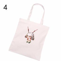 Wholesale Eco Reusable Shopping Bags Shoulder - Wholesale- Casual Print Canvas Shopping Bag White Tote Shoulder Carrying Bag Eco Reusable Bag Natural White
