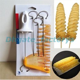 Wholesale Tornado Potatoes Cutter - Tornado Potato Spiral Cutter Manual Slicer Spiral French Fry Cutter Potato Tower Making Twist Shredder Kitchen Supplies