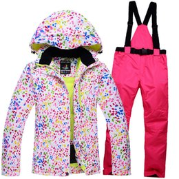 Wholesale Cheap Brown Jackets - Wholesale- Cheap Snow Jackets + pants Women Ski Snowboard Clothing 10K proof -30 Coat Ladies Ski suit Sets winter outdoor Snow customer
