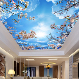 2018 Schlafzimmer Design Malerei Benutzerdefinierte Wandmalerei Malerei  Blue Sky White Clouds Pfirsichblüte Decke Moderne Designs 3D