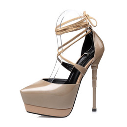 Wholesale Beige Platform Pumps Patent - European style sexy platform high heels shoes lady fashion cross-tied pointed toe pumps patent leather nightclub high-heeled stiletto shoes