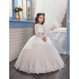 Wholesale Light Up Pink Ribbon - 2017 Pageant Dresses for Girls Glitz Long Sleeves Lace Up Ball Gown Appliques Bow Sashes Birthday First Flower Girl Dresses