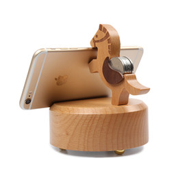 Wholesale Horse Brackets - New Wooden horse Speaker Mini Wireless Speaker cartoon Animal Music Player Wooden Caixa De Som Phone Holder Pad Stand phone Bracket coins in