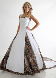 Wholesale Halter Court Train Wedding Dress - 2017 Gorgeous Wedding Dresses Halter Camo Realtree Print Embroidery Criss Cross Long Sweep Train Formal Bridal Gowns