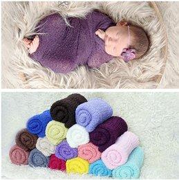 Wholesale Wholesale Knit Stretch Scarf - 35*150cm Stretch Knit Wrap Newborn Photography Props Baby Kids Nubble Rayon Wraps Maternity Scarf Hammock Swaddlings Women Shawl