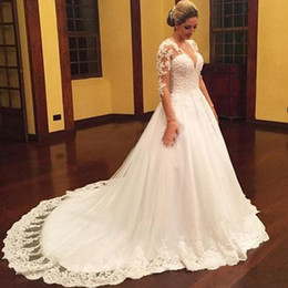 Wholesale Modest Wedding Dresses China - Modest Arabic Plus Size Wedding Dresses from China V Neck Lace Appliques Illusion Long Sleeves Lace Ball Gown A Line Wedding Dress