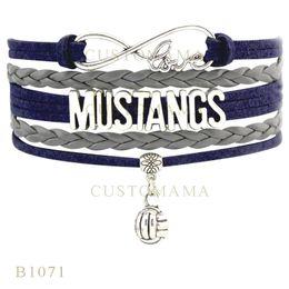 Wholesale Infinity Bracelet Metal - Custom-Infinity Love Mustangs Vollyball Metal Charm Wrap Bracelets Christmas Gifts Gray Blue Bracelets Leather Custom Womens Bracelets