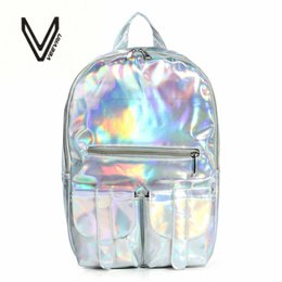 best color backpack Promo Codes - Wholesale- 2016 Summer New Style Silver holographic laser backpack women PU Backpack Travel Bag multi color school friends the best gift