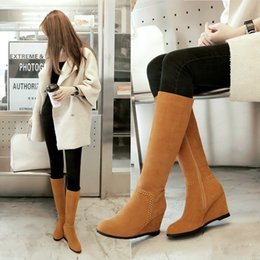 Wholesale Used Heels - New winter USES show thin wedges knight knights female tall canister boots with high heels side zippers female shoes