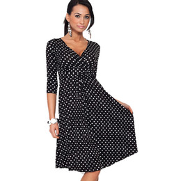 Wholesale Celeb Dress Wholesale - Wholesale- Women Dresses Hot Sale Celeb Dot V-neck Loose Causal Dresses Size S M L XL XXL XXXL Wholesale Free Shipping