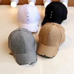 Wholesale Solid Black Sheets - New Fashion Unisex Beading Baseball Cap Women Curved Sheet Iron Brim Caps Men Snapback Cotton Hat Hip Hop Casquette Hats