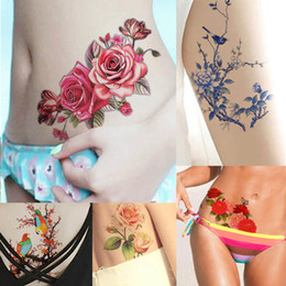 Wholesale Henna Stickers - WholesaleFlower Bird Decal 1pc Fake Women Men DIY Henna Body Art Tattoo Design HB556 Butterfly Tree Branch Vivid Temporary Tattoo Sticker