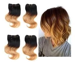 Wholesale cheap human weave - Brazilian Ombre Color Body Wave 2pcs lot 8 inch 50g pc Human Hair Extension Cheap Ombre 100% Human Hair Weave 7 colors Available
