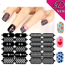Wholesale Print Nail Tips - Multiple-Use Nail Art Hollow Template Stickers Nails Tips Polish Printing DIY Beauty Decals Reusable Stamping Tools