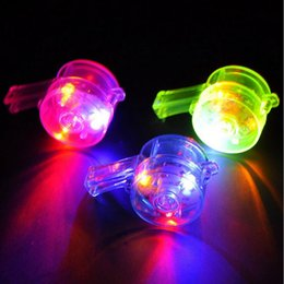 Wholesale whistle led party - Colorful LED Flashing Whistles Kids Light-Up Whistles Toys Noise Maker Birthday Glow Party Supplies