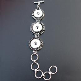 Ver trozos online-3 Botones Vintage Plata Noosa Chunks Metal Ginger 18mm Botones a presión Pulsera Relojes Joyería Unisex Al Por Mayor