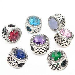 Wholesale Purple Bangle Bracelets - 925 Sterling Silver Round Crystal Charms Beads Fit Pandora Bracelet Bangle Necklace Fashion Large Hole Beads Fits Safe Chain Hot DIY Jewelry