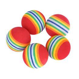 оптовая торговля Скидка Wholesale- 10Pcs Light-weight Golf Balls Rainbow Stripe Foam Sponge Balls Swing Practice Training Aids wholesale #E0
