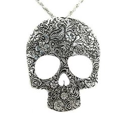 Wholesale Wholesale Necklace Bibs - Wholesale-Hot Womens Vintage Skull Gothic Pendant Bib Statement Retro Choker Charm Necklace Classic Jewelry Gift