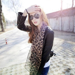 Wholesale Leopard Print Scarves For Women - Wholesale- 1pcs Long Leopard Print Scarves Emulation Silk Scarf Shawl To Keep Warm For Fashion Sexy Women Summer Style