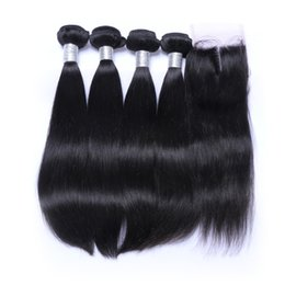 Wholesale Remy Hair Bundles Closures - Peruvian Straight Hair Weaves Bundles with Closure Free Middle 3 Part 7A Quality Double Weft Human Hair Extensions Dyeable Remy Virgin Hair