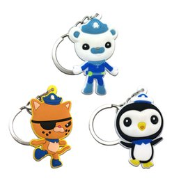 Wholesale Party Keyrings - 3pcs Hot Sell Cartoon Octonauts Keychains Soft PVC Pendants+Keyrings Key Cover For Women Bag Phone Straps Kid Gift Party Favor Jewelry
