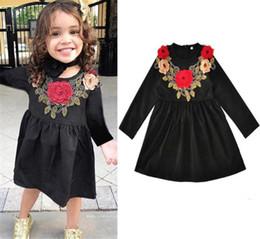 Wholesale Childrens Embroidered Clothing - 2017 Girls Childrens Dresses Floral Black Princess Dress for Girls Clothing Fashion Girl Kids Long Sleeve Dresses Boutique Enfant Clothes