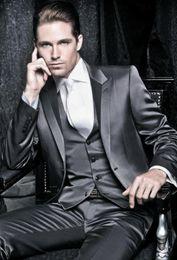 Wholesale Satin Groom Vests - Trendy Design Shiny Satin Groom Tuxedos Groomsmen Peak Lapel Blazer Mens Business Suits (Jacket+Pants+Vest+Tie) NO:6703
