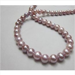Wholesale 8mm South Sea Pearls - 18 INCH SOUTH SEA 9-8MM purple LAVENDER PEARL NECKLACE 14K CLASP