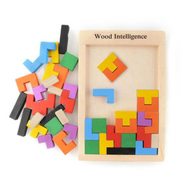 Wholesale Tetris Puzzle - Early Education colorful Wooden Tangram Brain Tetris Block Intelligence Puzzle parent-child interaction Toys with free shipping