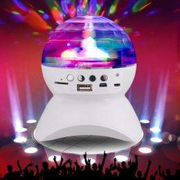 Wholesale Disco Usb - RGB LED Crystal Magic Ball Stage Effect Light DJ Club Disco Party Lighting bluetooth speaker With USB  TF FM radio Remote