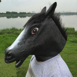 gruselige einhornmaske Rabatt Gruselig Vollgesichts Kopf Einhorn Pferd Maske Gummi Tier Latex Party Tier Maske Kinder Cosplay Halloween Maskerade Party Maske