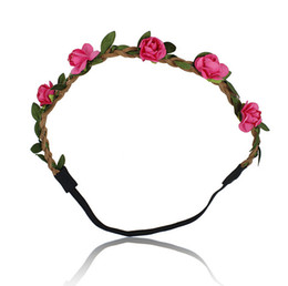 Wholesale Hairband For Bride - 20pcs lot Flower Headband Garland Beach Bride Paper Flower Hairband For Girl and Women Wedding Head Band Hair Accessories