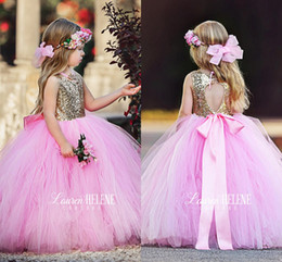 Wholesale Christmas Ball Opens - 2017 Lovely Pink Sparkly Sequined Flower Girl Dresses Ball Gown Tulle Open Back Girls Pageant Dresses For Weddings With Bow Sash