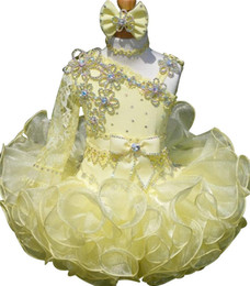 Wholesale Infant Girl Party Dresses - Yellow Kids Special Occasion Pageant Cupcake Dresses Infant Tutu Ball Gowns Toddler Baby Girls One Shoulder Birthday Party Pageant Dress