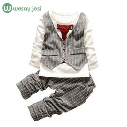 Wholesale Kids Necktie Shirts - Wholesale- 1-3yrs Boys clothes fashion toddler girl clothing set formal suits gentleman Necktie stripe shirt+ trousers kids clothes boys