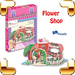 Wholesale Diy Doll Flowers - New DIY Gift Flower Shop 3D Puzzle Model Building From Cartoon Education Toy Doll House Rose Garden Home Decoration Puzzle Game