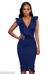 Wholesale Turquoise S Dress - Cryg Newest Deep V collar sundr Women Summer Sleeveless Dress Sexy Solid Turquoise Ruffle V Neck Bodycon Midi Tight Wrap Party Dress